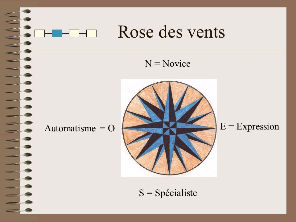Rose des vents N = Novice E = Expression Automatisme = O