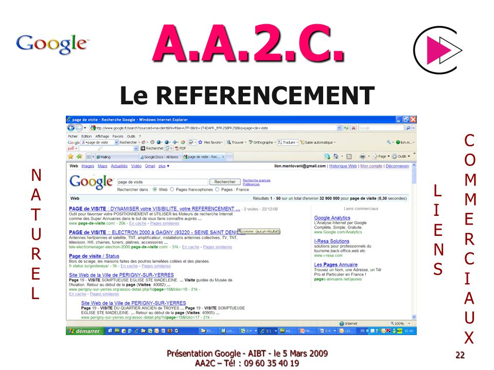Présentation Google - AIBT - le 5 Mars 2009