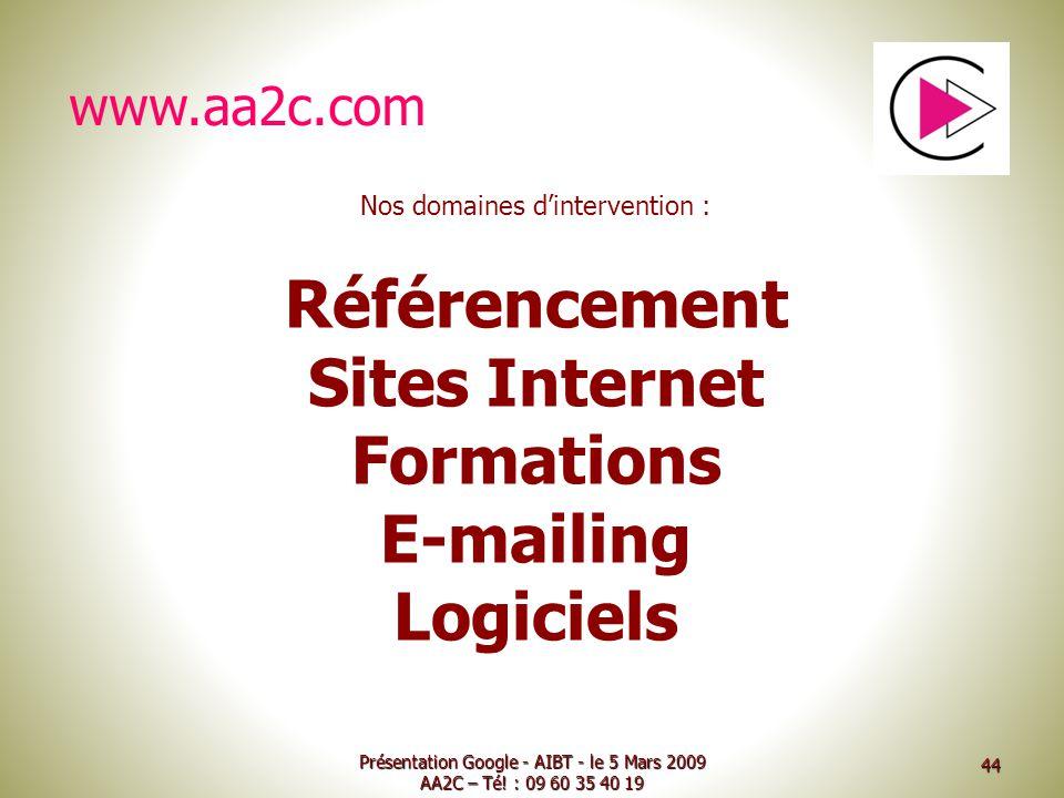 Référencement Sites Internet Formations E-mailing Logiciels