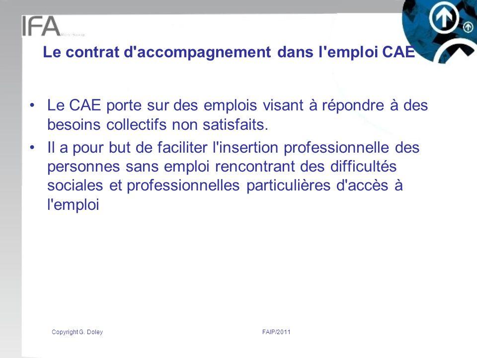 Le contrat d accompagnement dans l emploi CAE