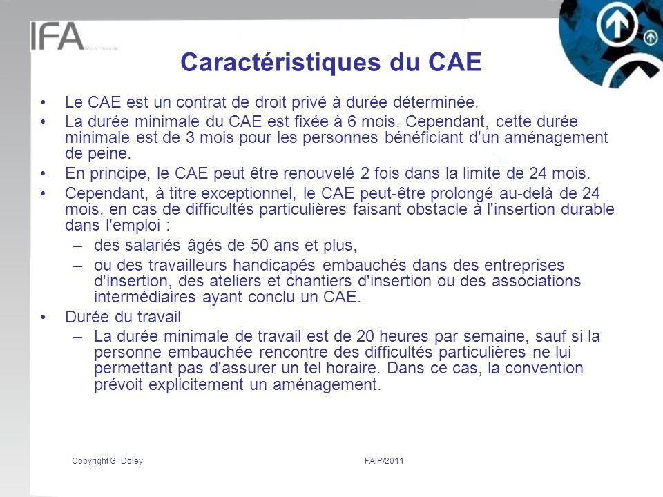 Caractéristiques du CAE