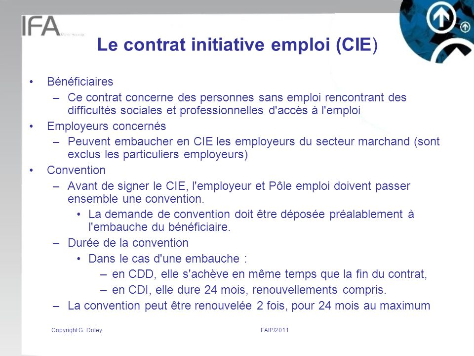 Le contrat initiative emploi (CIE)