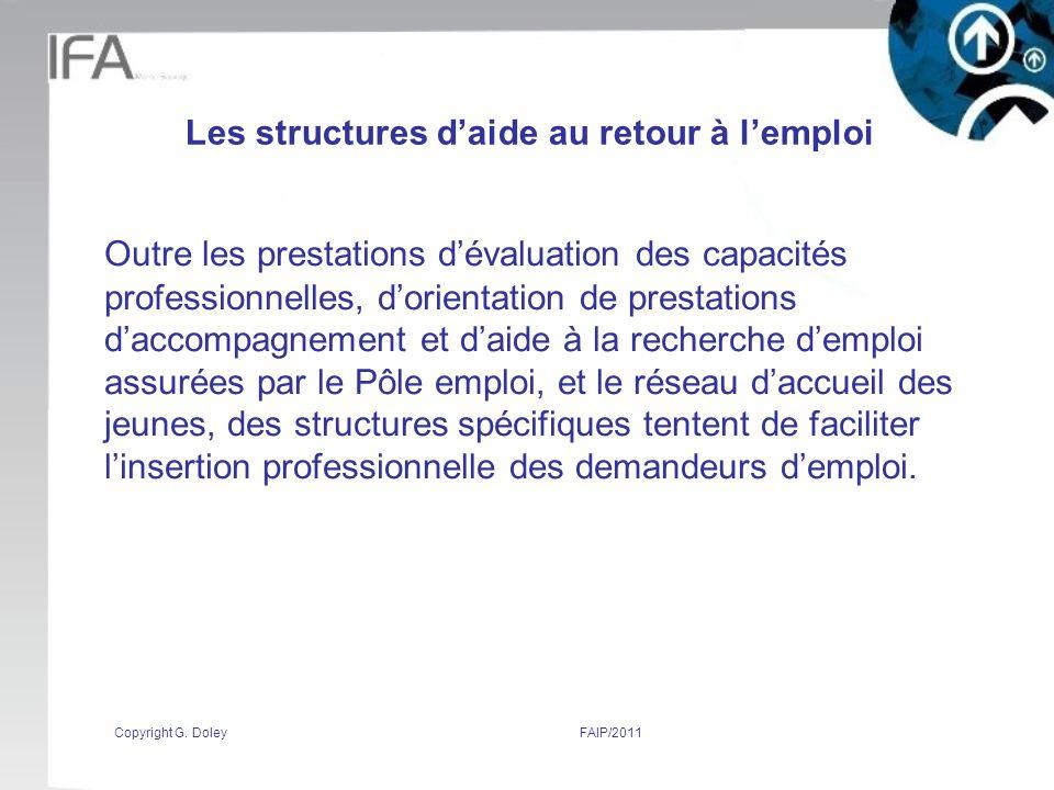 Les structures d'aide au retour à l'emploi