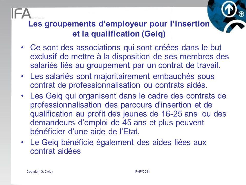 Le Geiq bénéficie également des aides liées aux contrat aidées