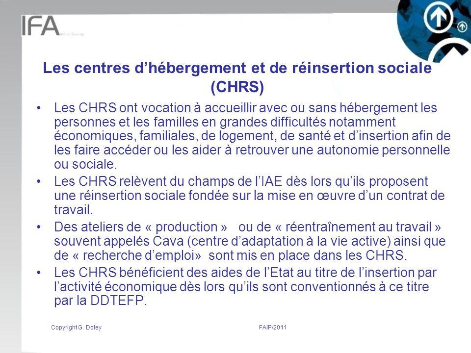 Les centres d'hébergement et de réinsertion sociale (CHRS)