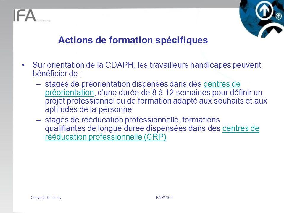 Actions de formation spécifiques