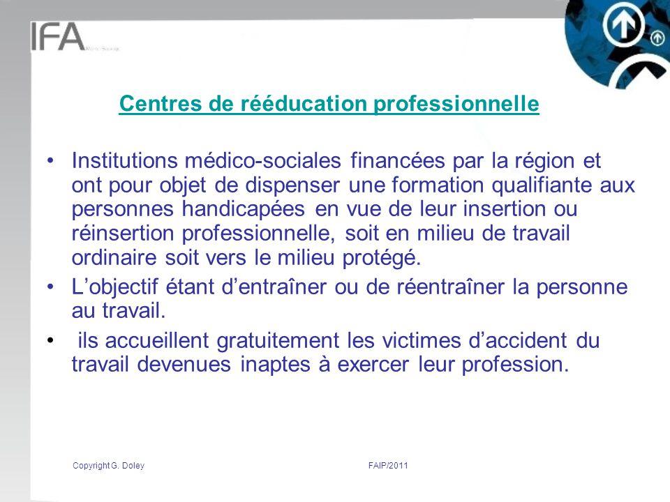 Centres de rééducation professionnelle