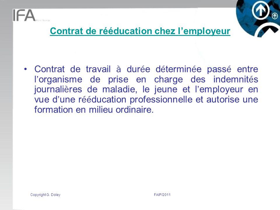 Contrat de rééducation chez l'employeur