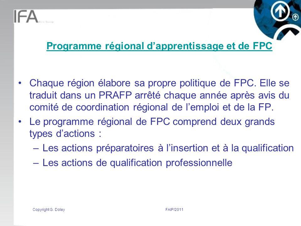 Programme régional d'apprentissage et de FPC