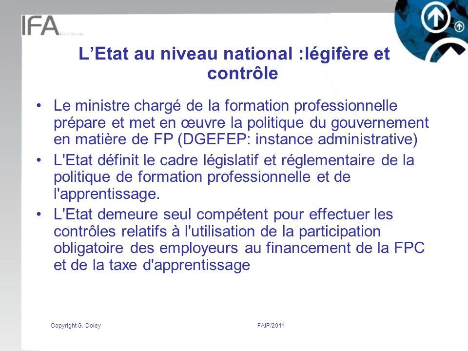 L'Etat au niveau national :légifère et contrôle