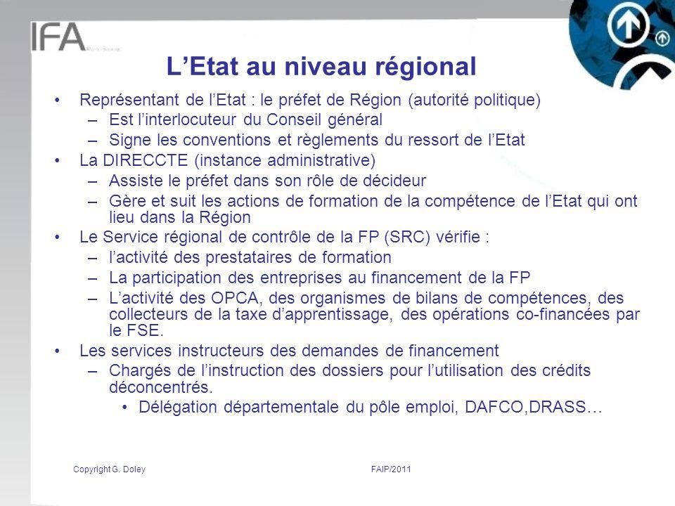 L'Etat au niveau régional