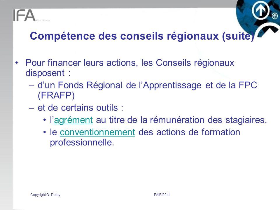 Compétence des conseils régionaux (suite)