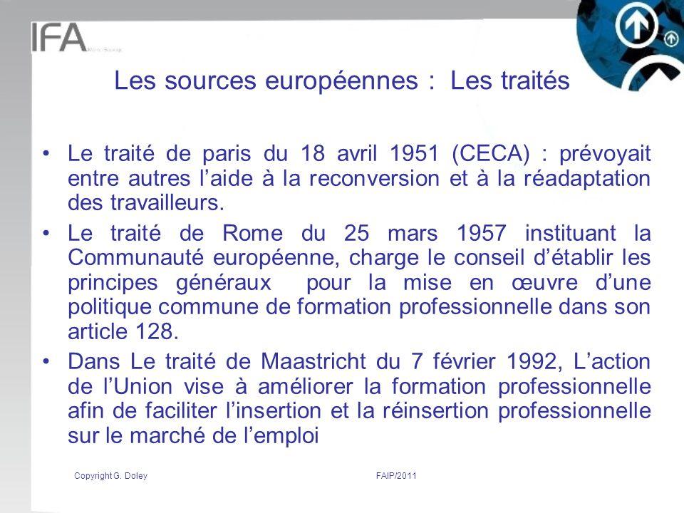Les sources européennes : Les traités