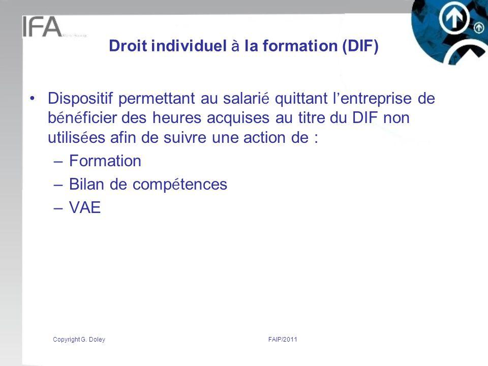 Droit individuel à la formation (DIF)