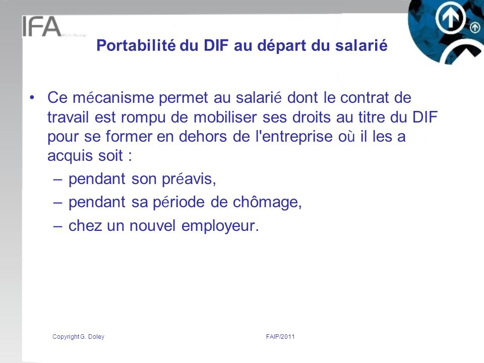 Portabilité du DIF au départ du salarié