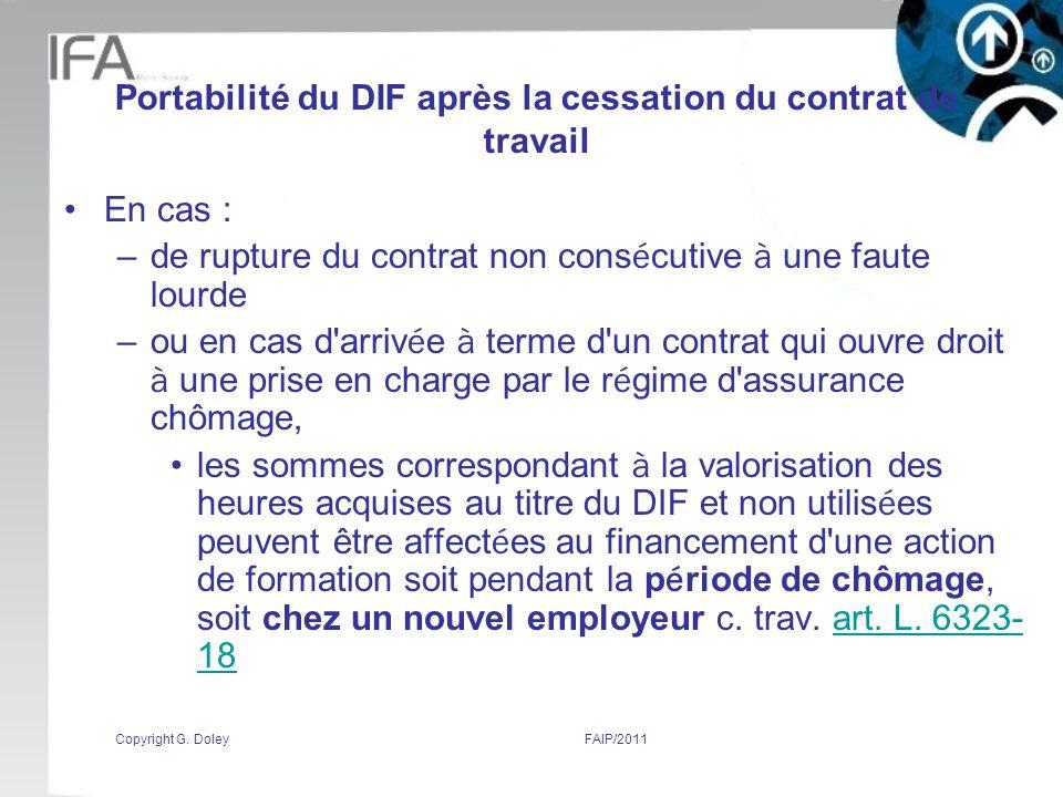 Portabilité du DIF après la cessation du contrat de travail