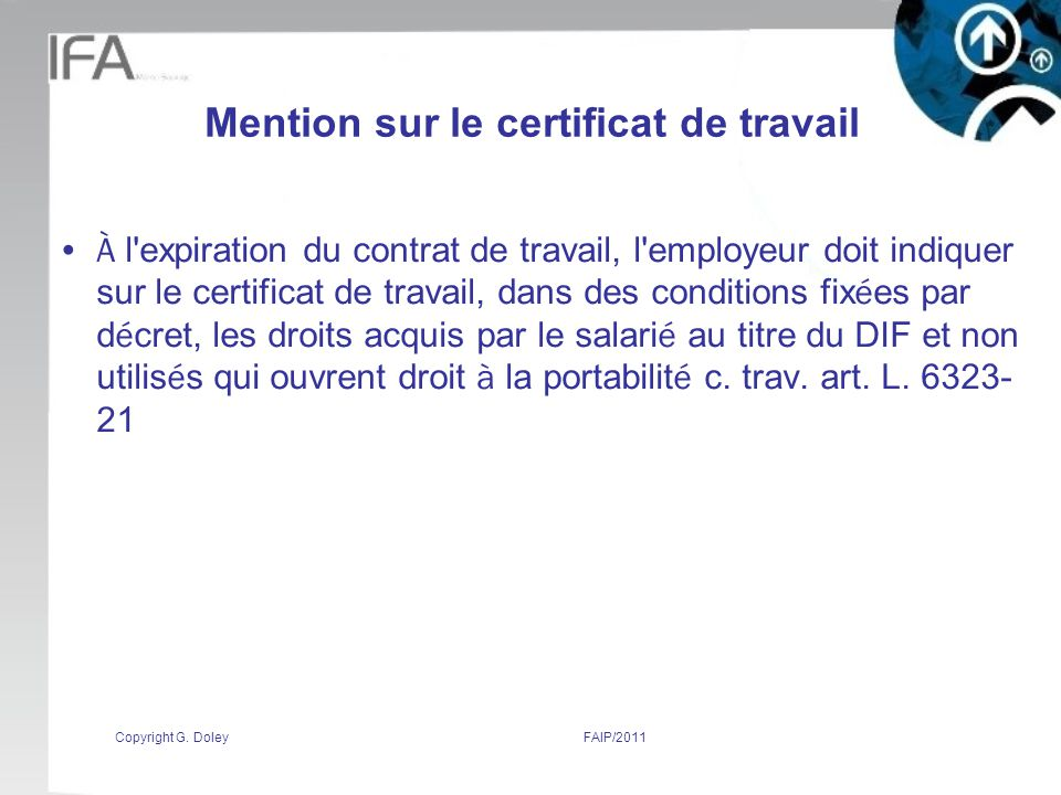 Mention sur le certificat de travail