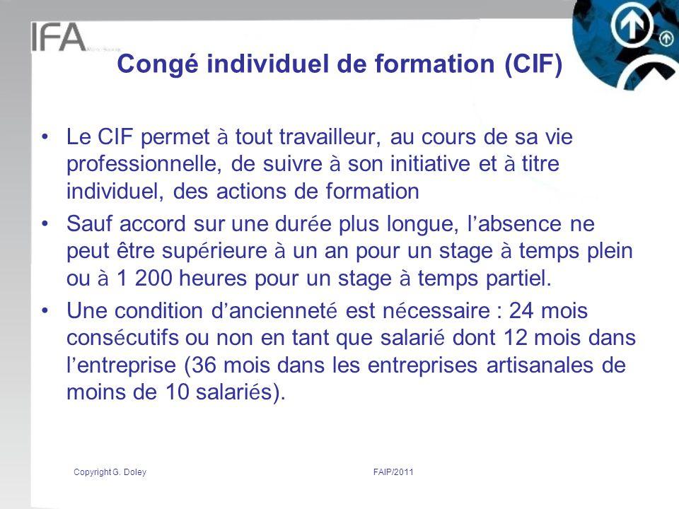 Congé individuel de formation (CIF)
