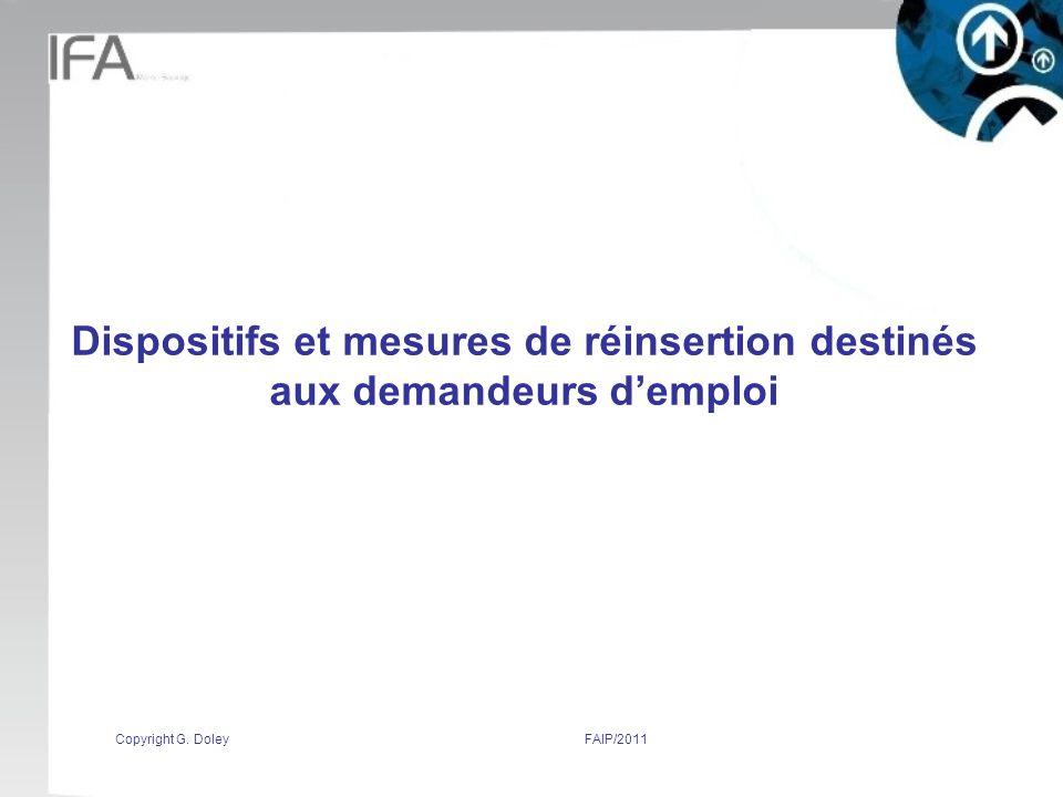 Dispositifs et mesures de réinsertion destinés aux demandeurs d'emploi