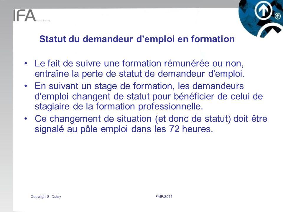 Statut du demandeur d'emploi en formation
