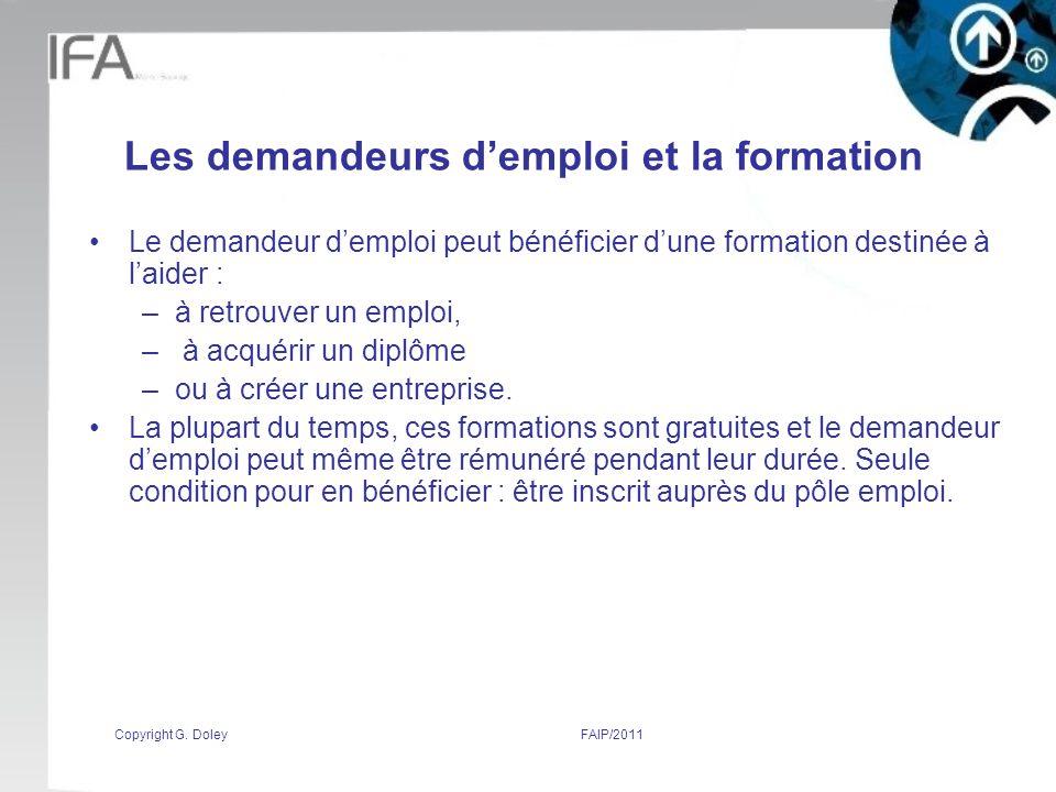 Les demandeurs d'emploi et la formation