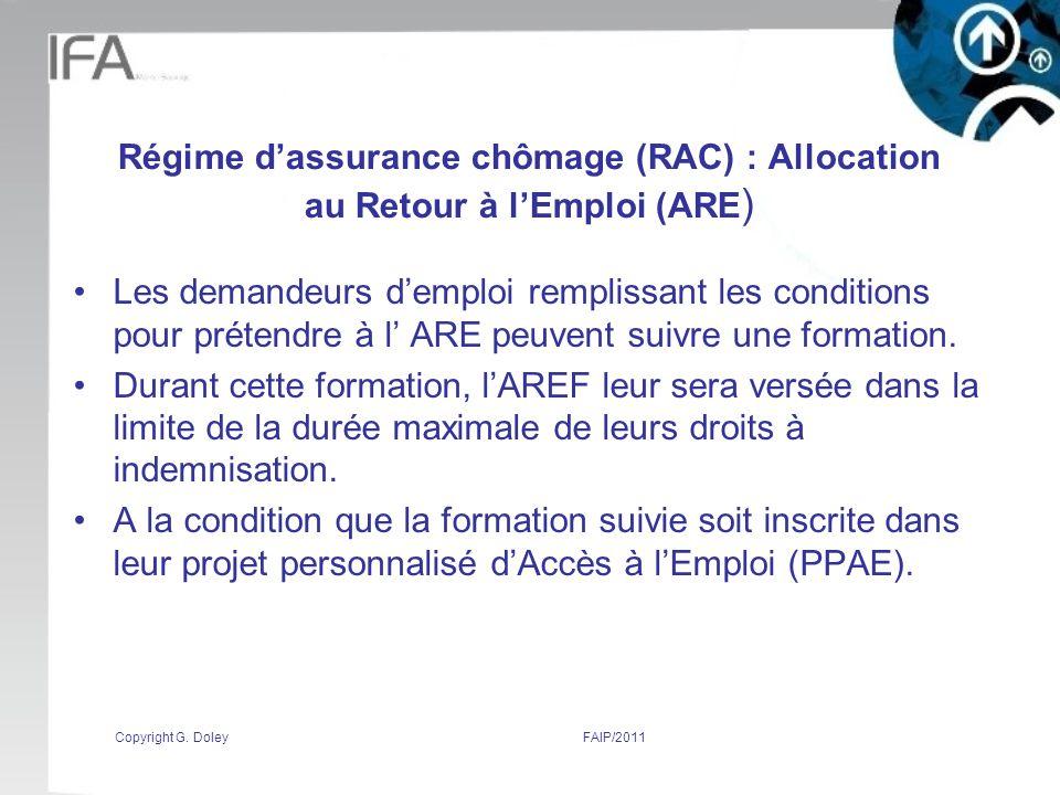 Régime d'assurance chômage (RAC) : Allocation au Retour à l'Emploi (ARE)