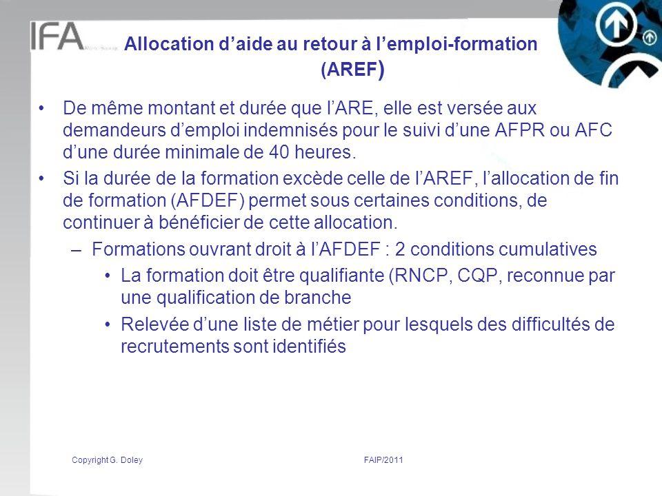 Allocation d'aide au retour à l'emploi-formation (AREF)