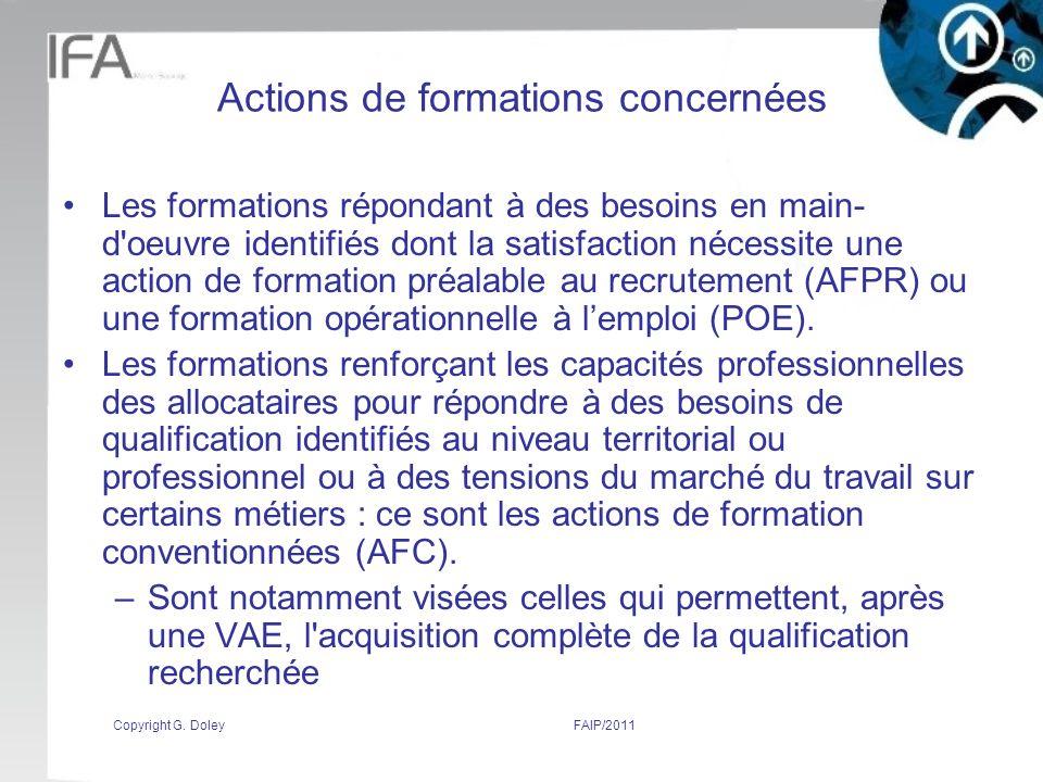 Actions de formations concernées