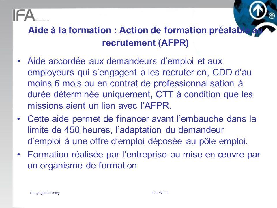 Aide à la formation : Action de formation préalable au recrutement (AFPR)