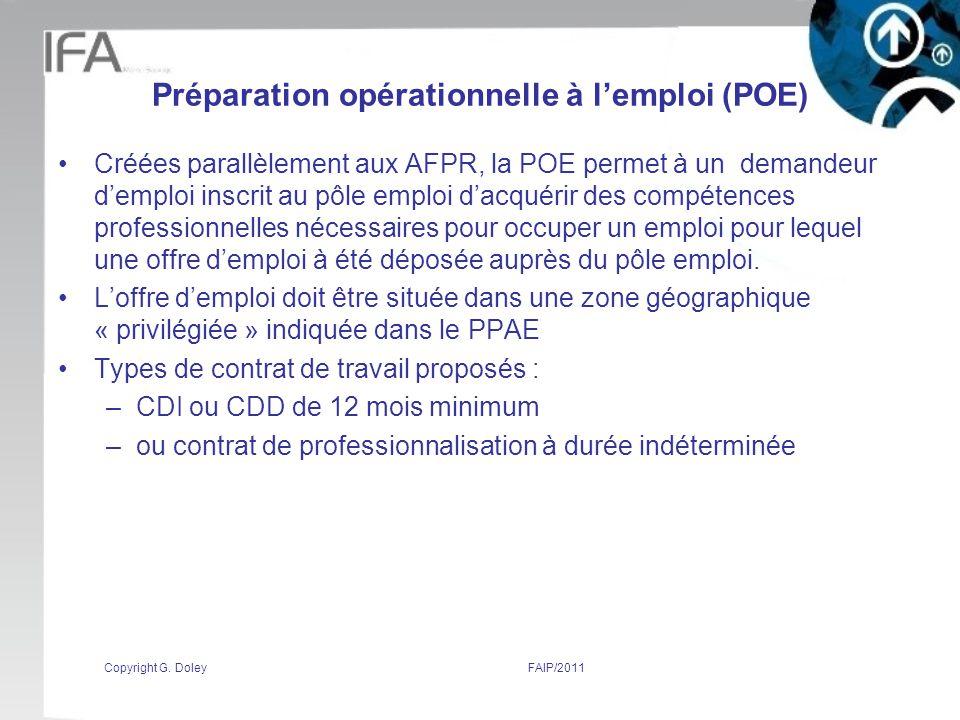 Préparation opérationnelle à l'emploi (POE)