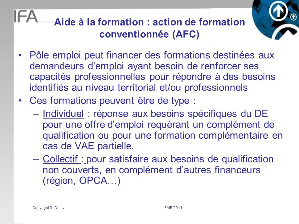 Aide à la formation : action de formation conventionnée (AFC)
