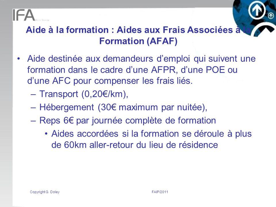 Aide à la formation : Aides aux Frais Associées à la Formation (AFAF)