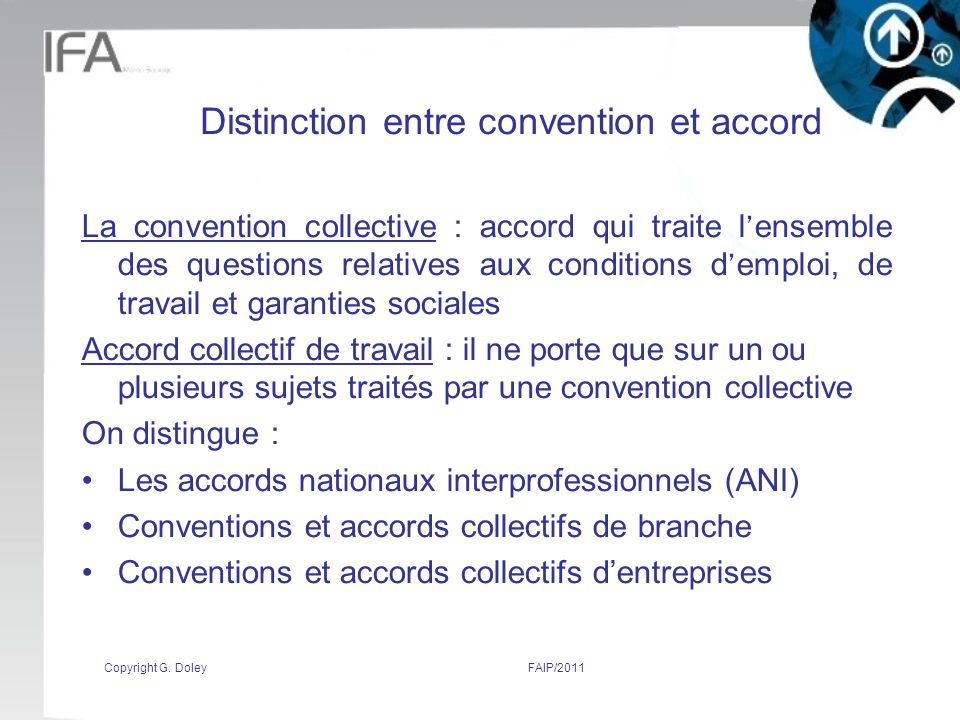 Distinction entre convention et accord