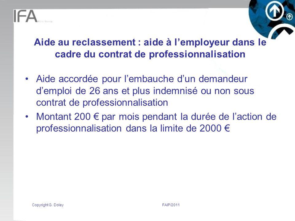 Aide au reclassement : aide à l'employeur dans le cadre du contrat de professionnalisation