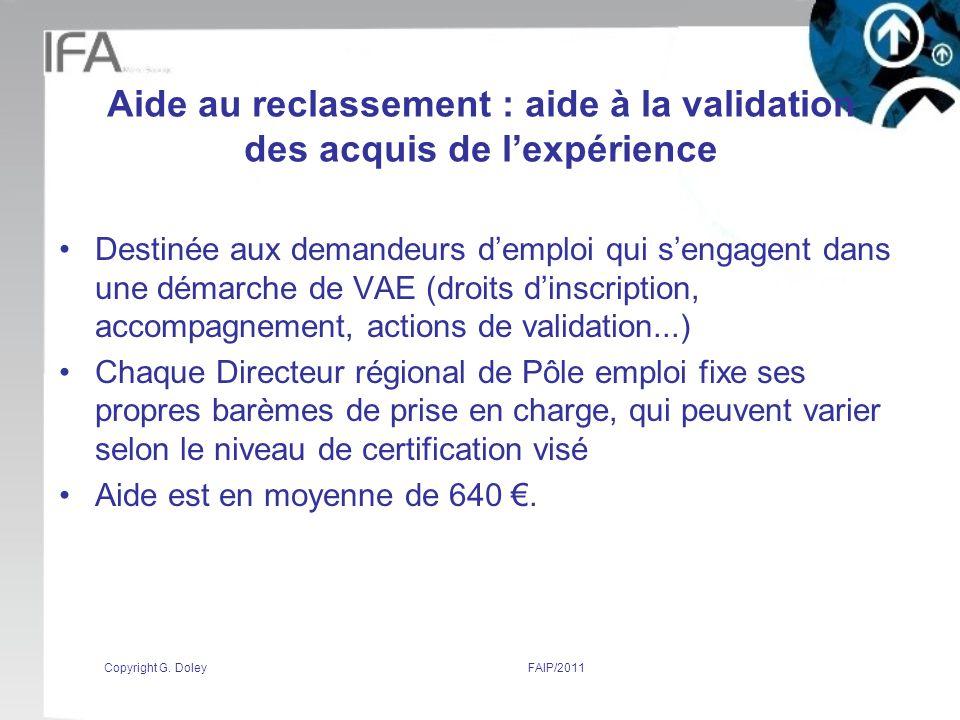 Aide au reclassement : aide à la validation des acquis de l'expérience