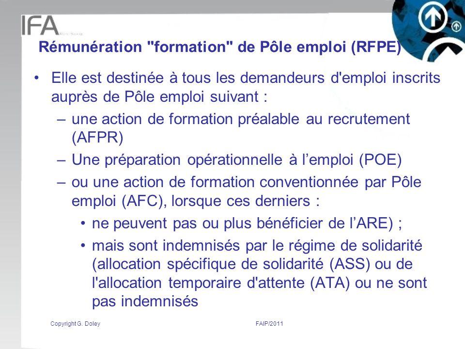 Rémunération formation de Pôle emploi (RFPE)