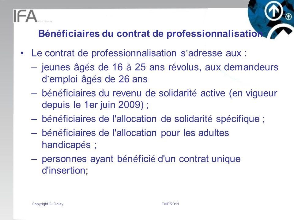 Bénéficiaires du contrat de professionnalisation
