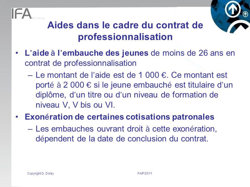 Aides dans le cadre du contrat de professionnalisation