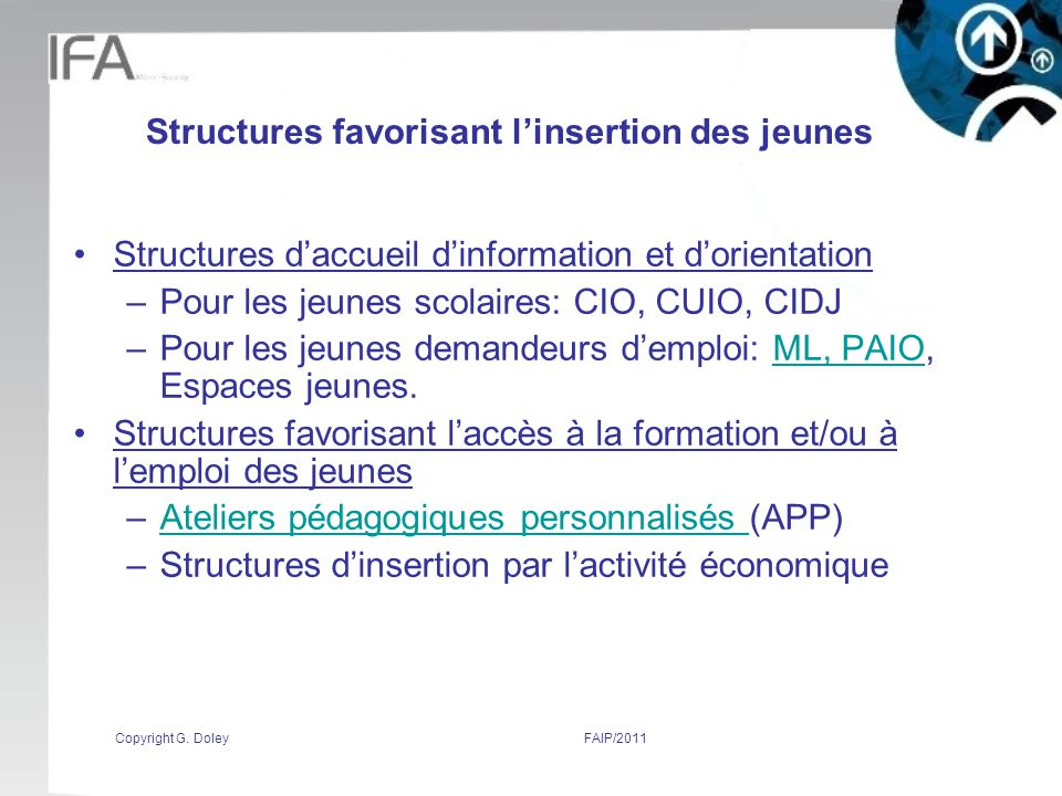 Structures favorisant l'insertion des jeunes