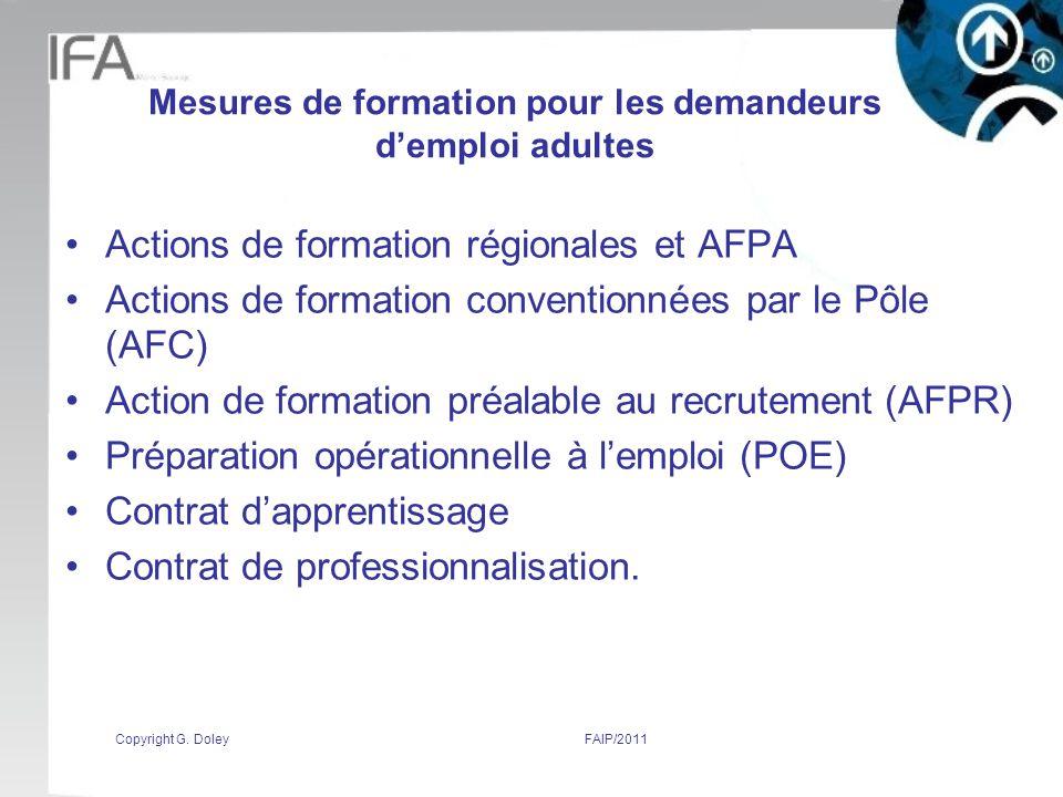 Mesures de formation pour les demandeurs d'emploi adultes