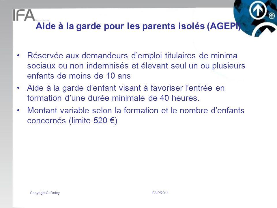 Aide à la garde pour les parents isolés (AGEPI)