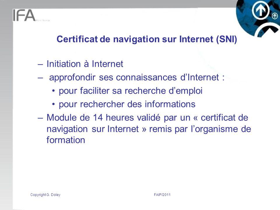 Certificat de navigation sur Internet (SNI)