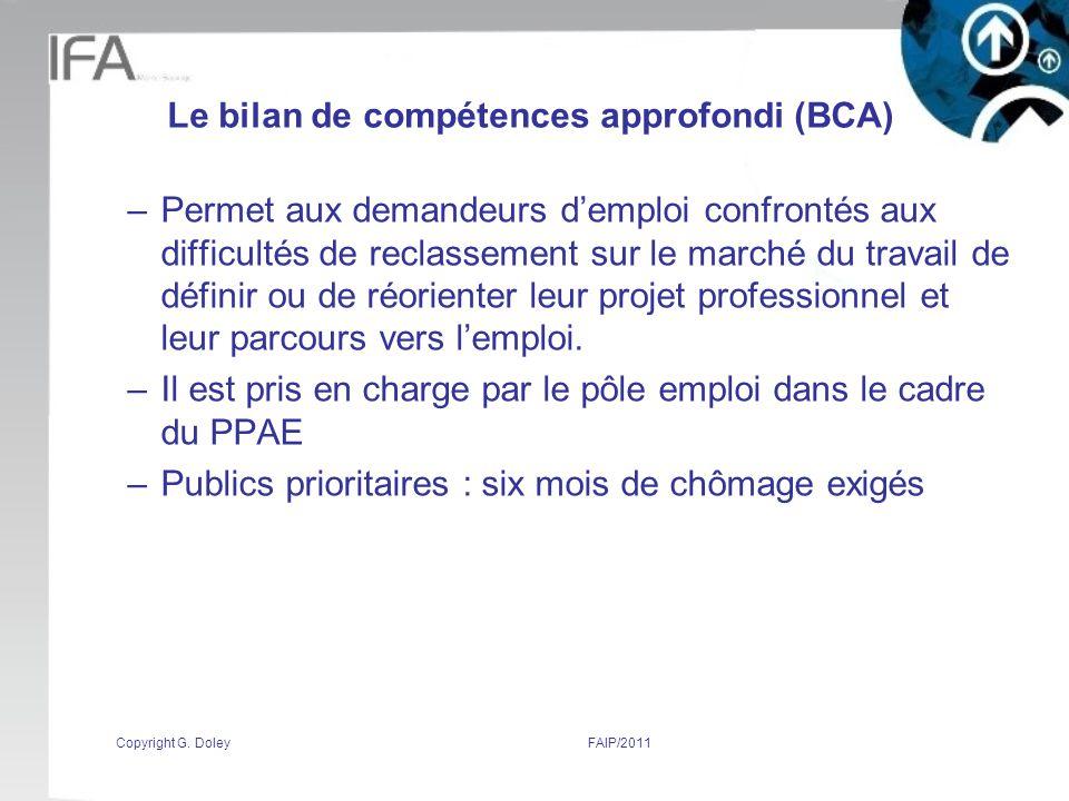 Le bilan de compétences approfondi (BCA)