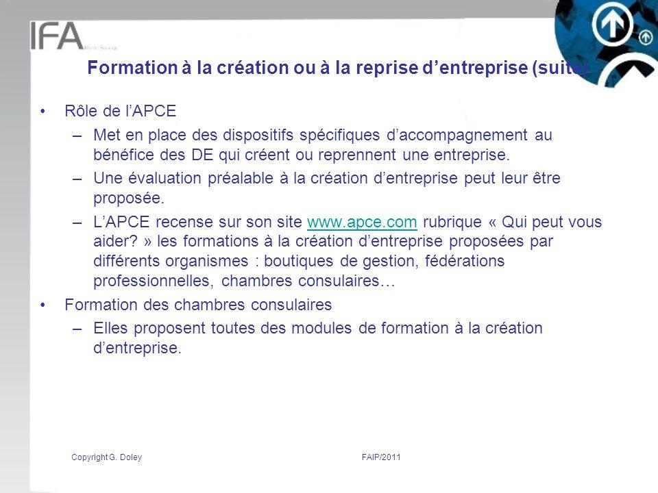Formation à la création ou à la reprise d'entreprise (suite)