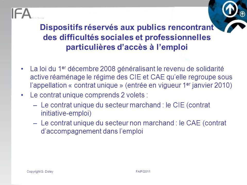 Dispositifs réservés aux publics rencontrant des difficultés sociales et professionnelles particulières d'accès à l'emploi