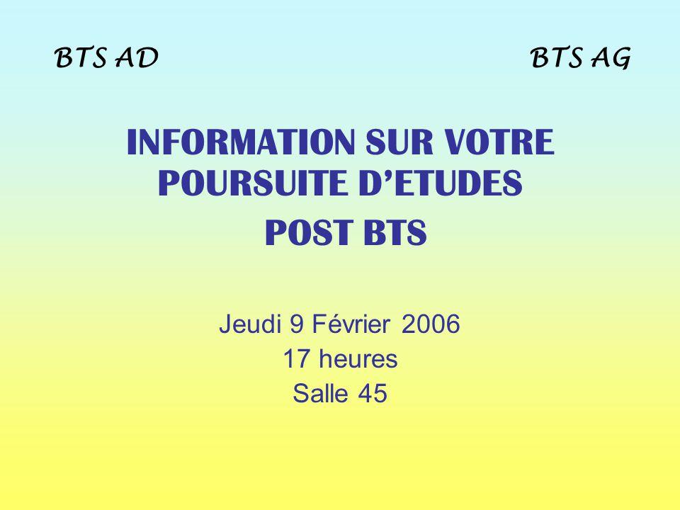 INFORMATION SUR VOTRE POURSUITE D'ETUDES
