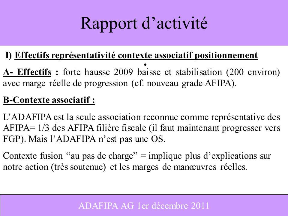 Rapport d'activité I) Effectifs représentativité contexte associatif positionnement.