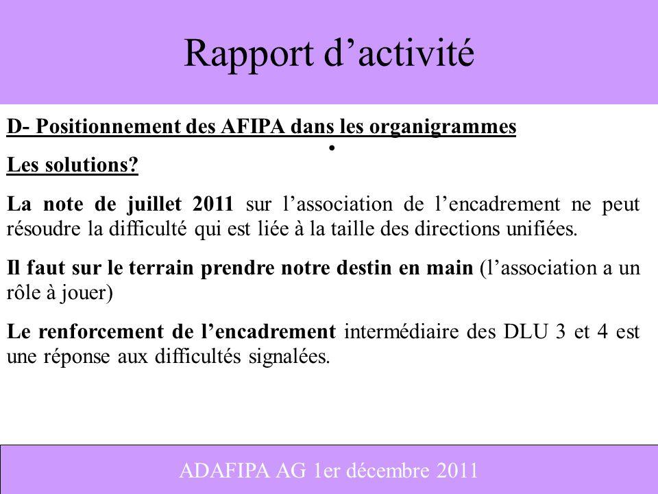 Rapport d'activité D- Positionnement des AFIPA dans les organigrammes