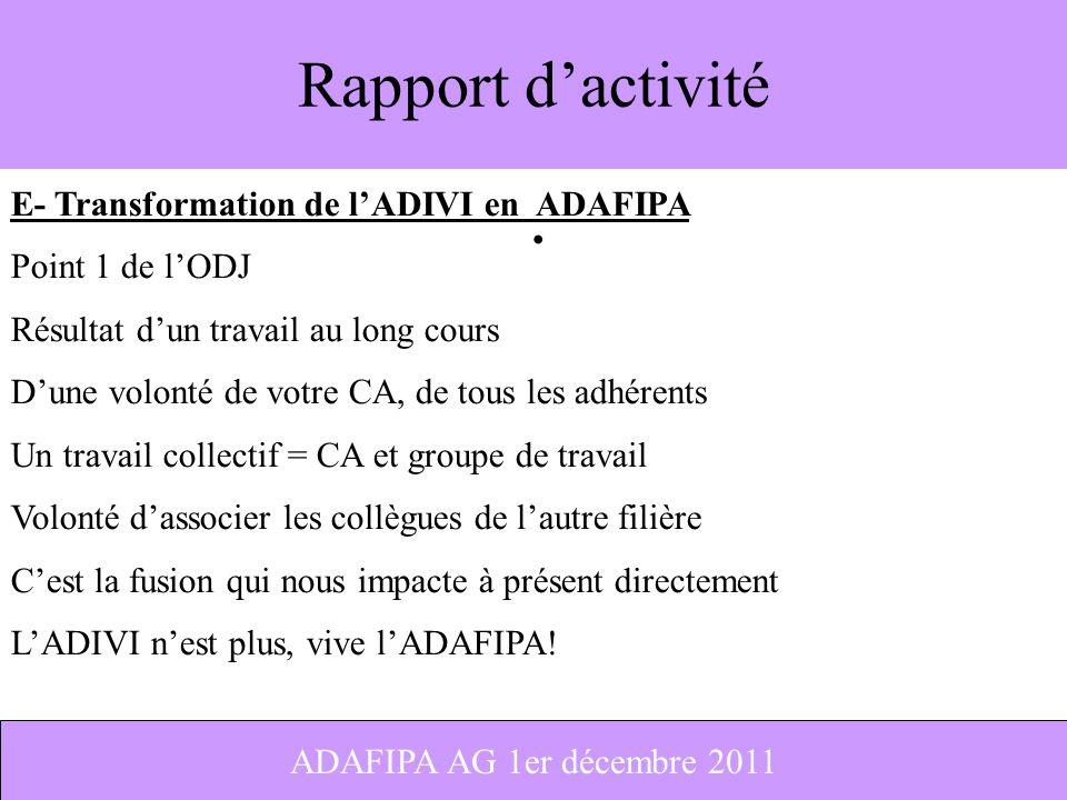Rapport d'activité E- Transformation de l'ADIVI en ADAFIPA