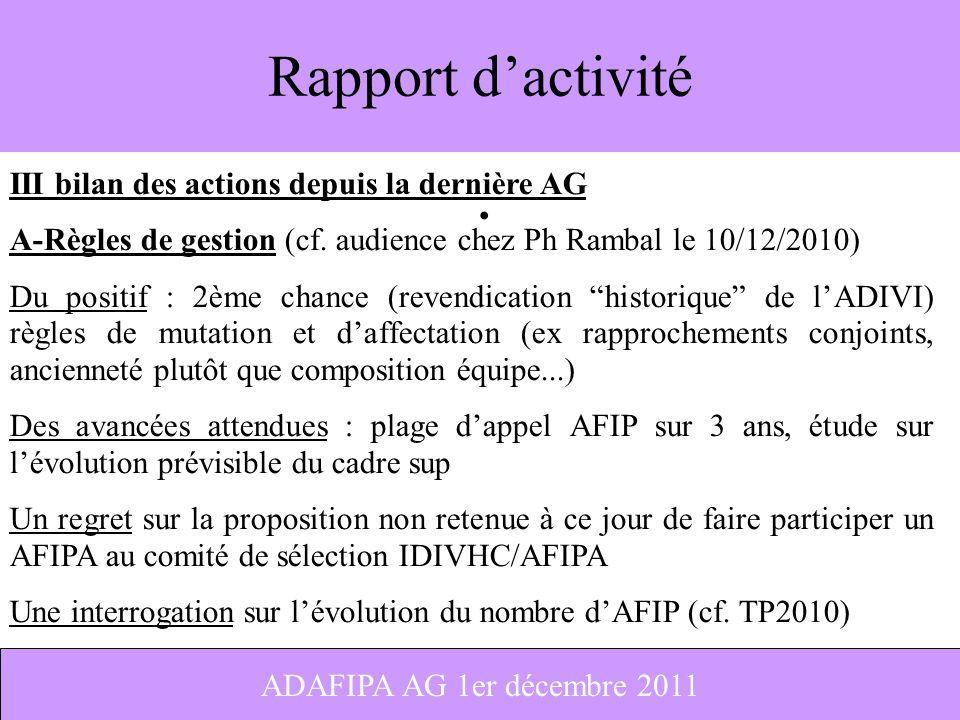 Rapport d'activité III bilan des actions depuis la dernière AG